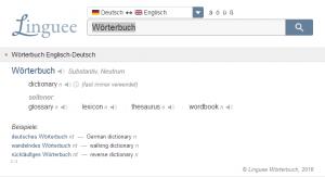 Suchergebnisse Linguee, Quelle: Screenshot Webseite