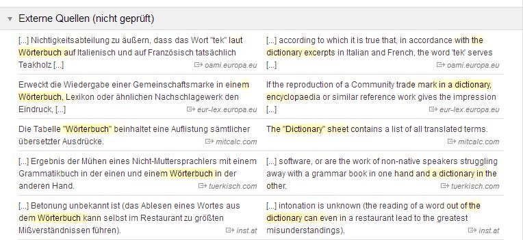 Linguee externe Quellen, Quelle: Screenshot Webseite