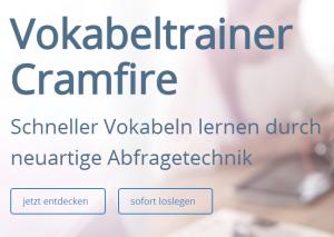 cramfire Vokabeltrainer, Quelle: Screenshot Webseite