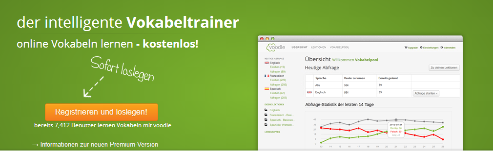 voodle Vokabeltrainer, Quelle: Screenshot Webseite