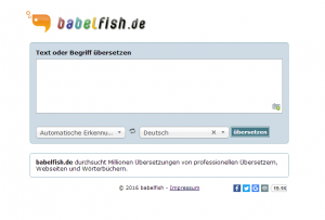 Webseite babelfish - Screenshot