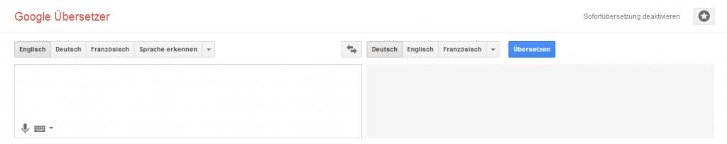 Google Übersetzer - Screenshot Webseite