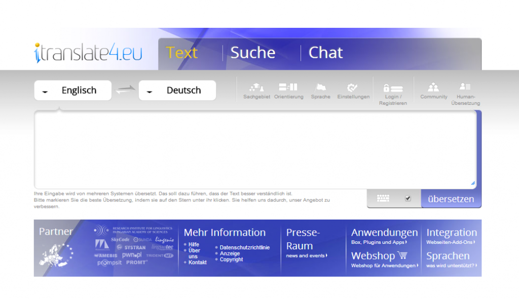 Webseite Itranslate - Screenshot