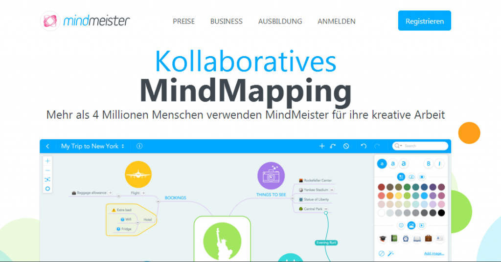 Mindmeister - Screenshot Webseite