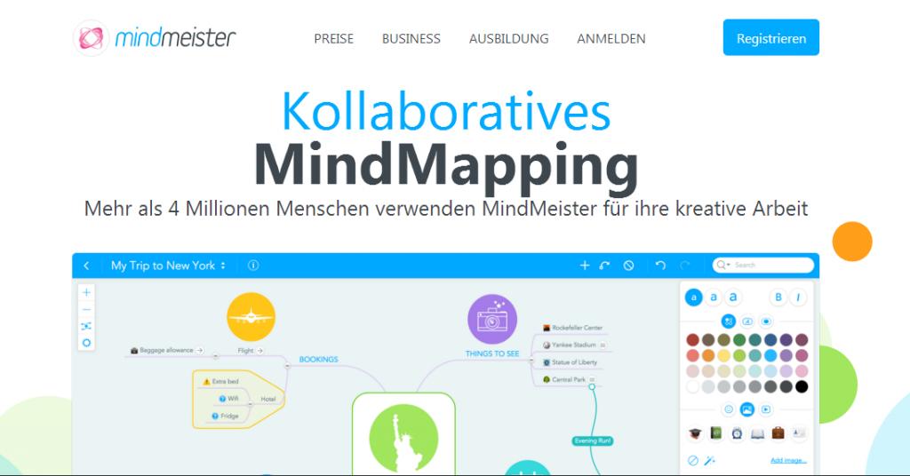 Mindmeister - Screenshot Webseite